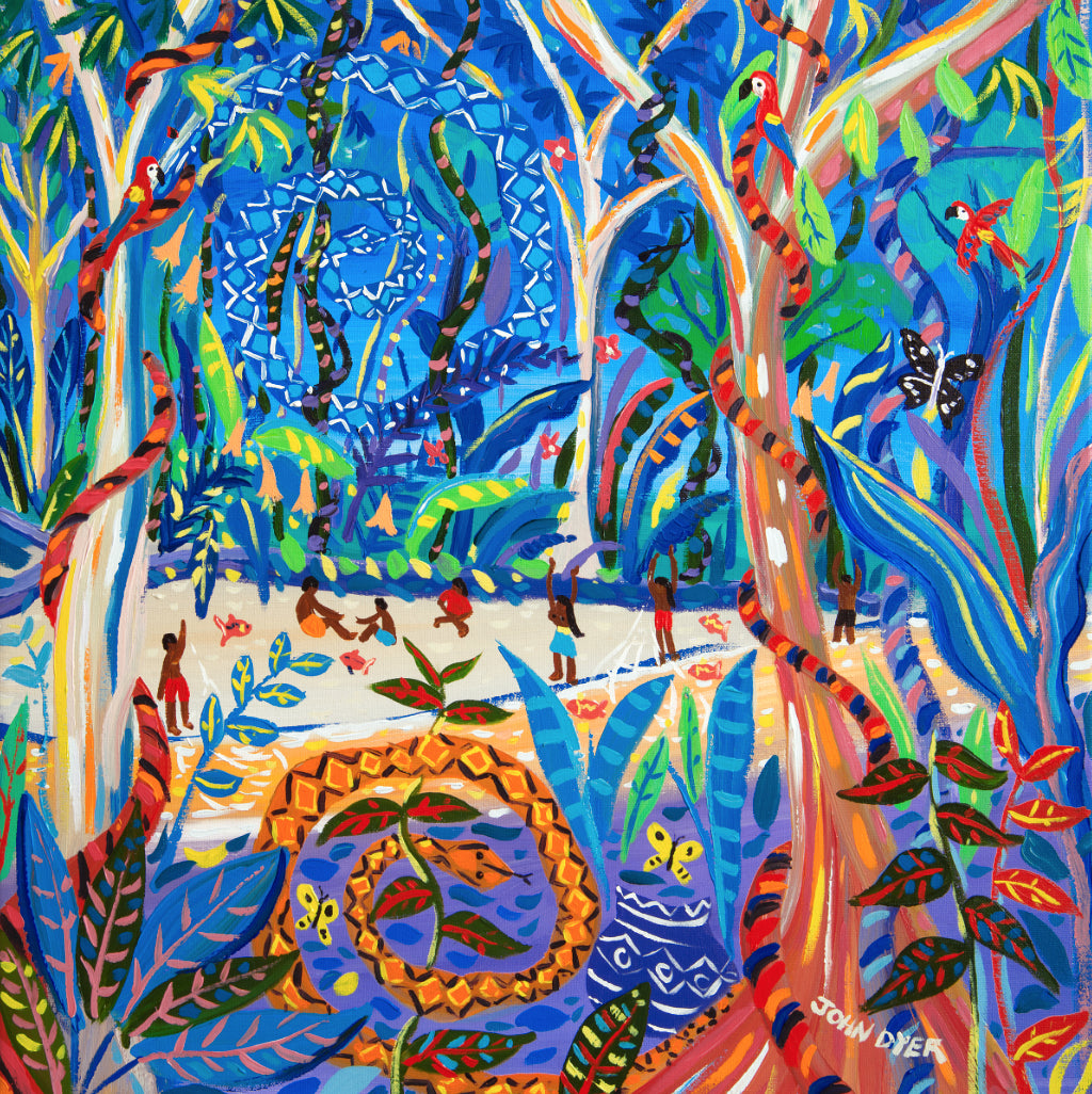 Limited Print by artist John Dyer. The Sky Snake Ashuinka and Ground Snake Runua, Amazon Rainforest