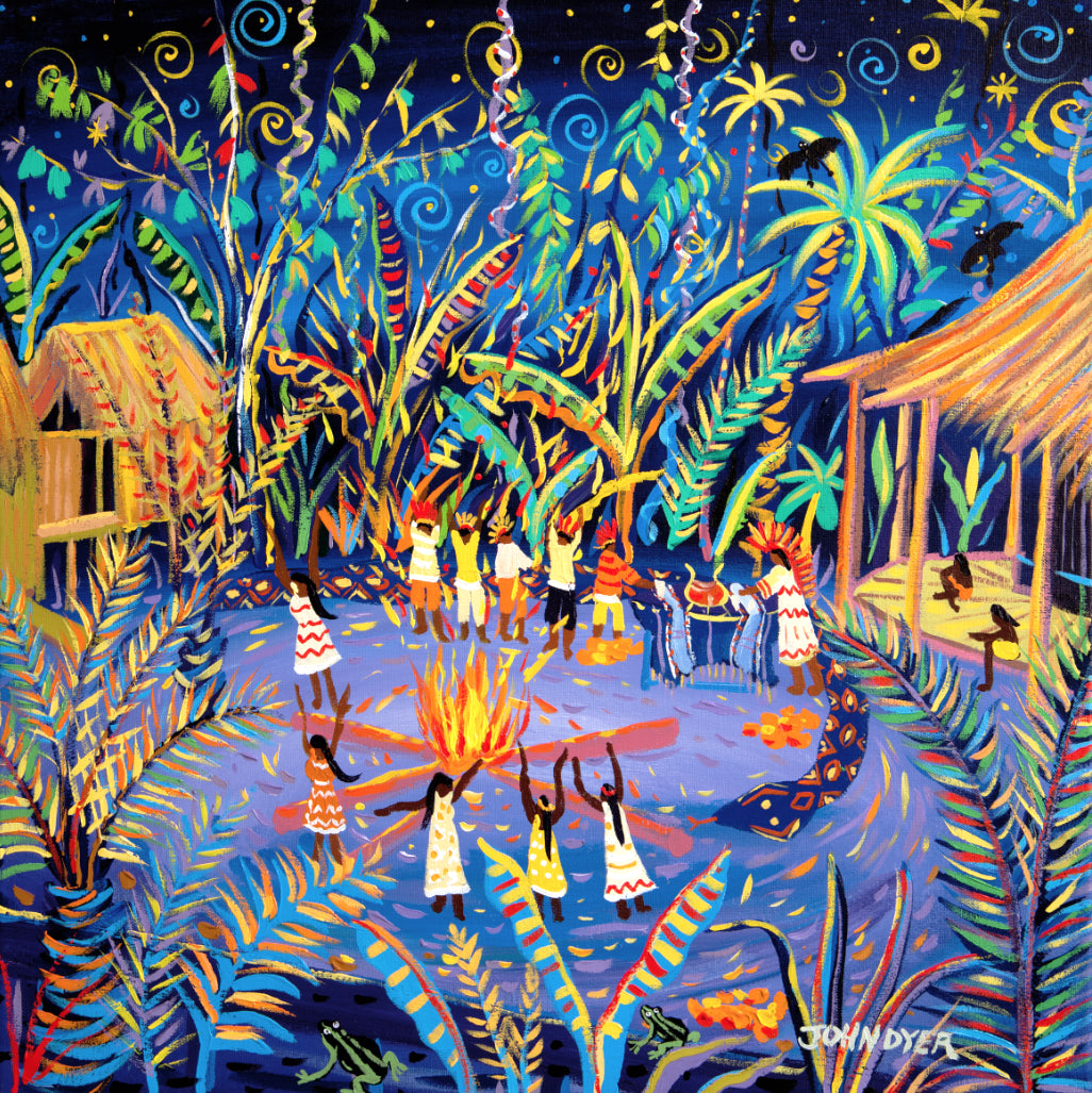 Limited Print by artist John Dyer. Yawanawá Tribal Ayahuasca Ceremony, Amazon Rainforest