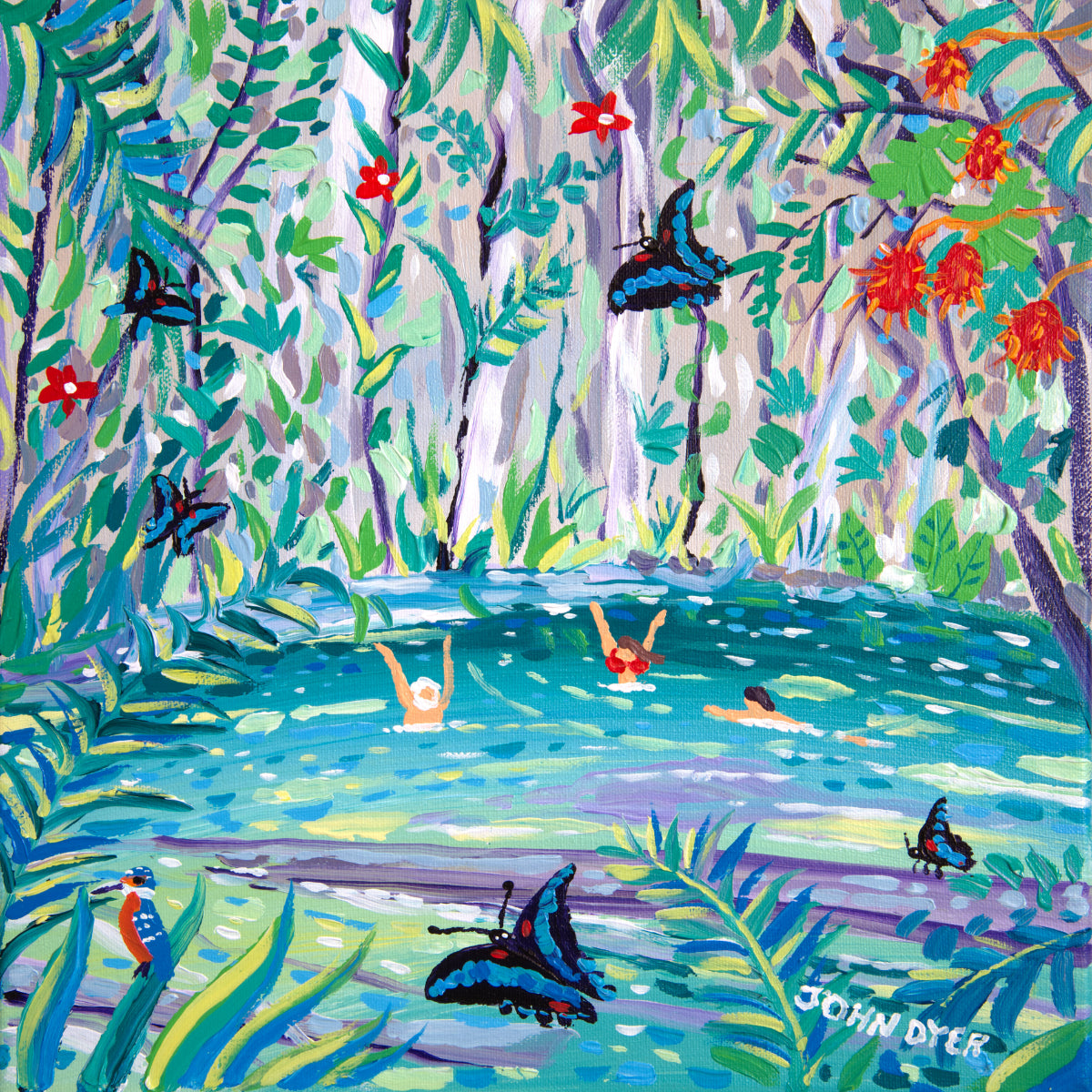 Clear water cave in Mulu rainforest Borneo - swimmers enjoy the spring water with tropical butterflies. Signed print by John Dyer