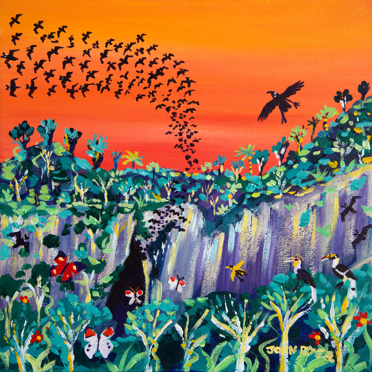 Limited Print by artist John Dyer. Sunset Bats, Mulu, Borneo