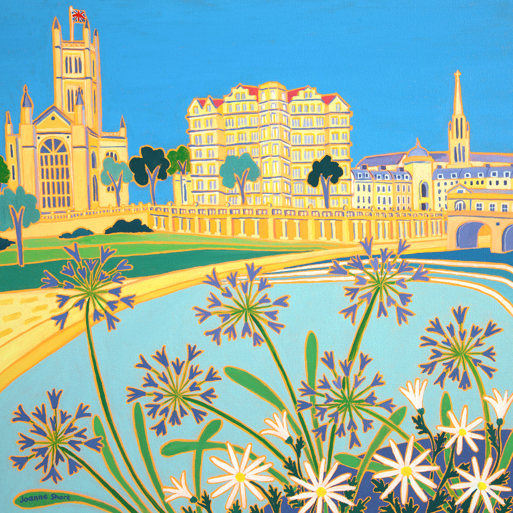 Joanne Short Painting. Riverside Agapanthus, Bath. 18 x 18 inches oil on canvas