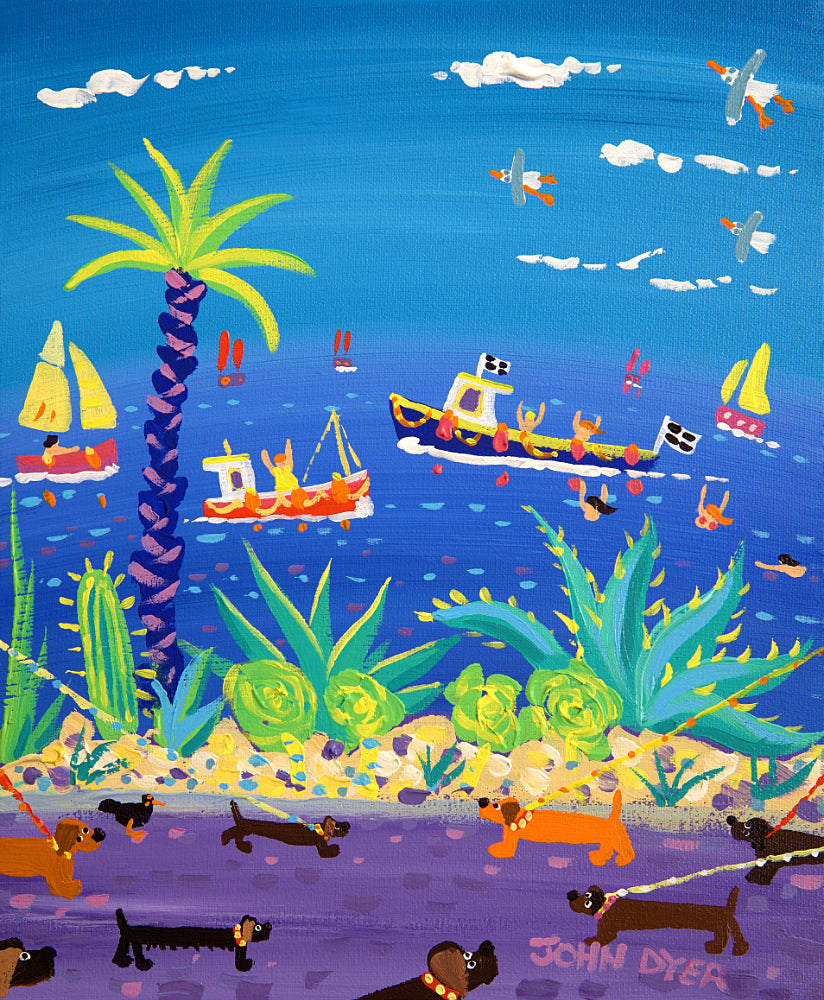 John Dyer Painting. Seaside Sausage Dogs