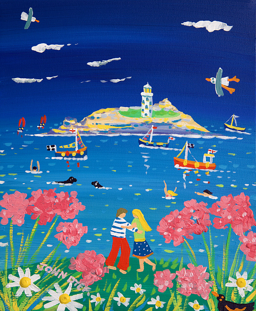John Dyer Painting. Love Story, Godrevy Lighthouse