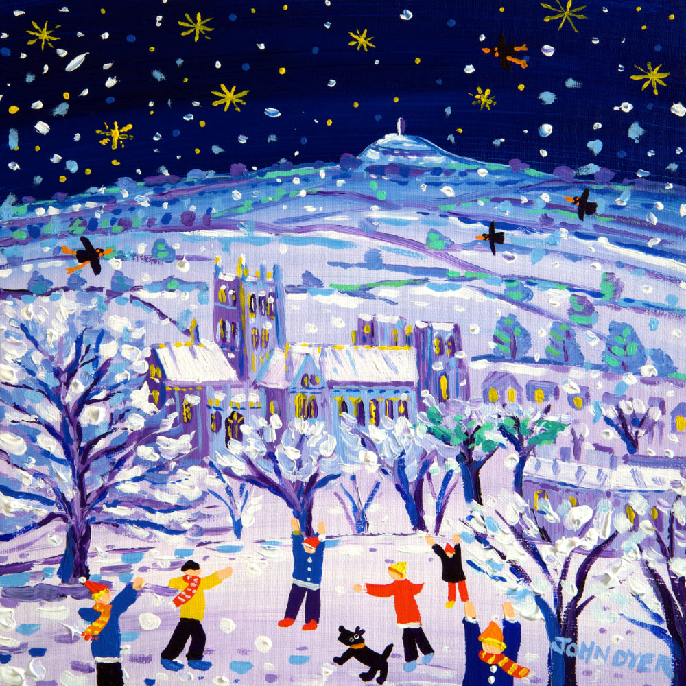 Signed Limited Edition Print by John Dyer. Little Stars and Snowflakes, Wells. Wells Cathedral in the snow