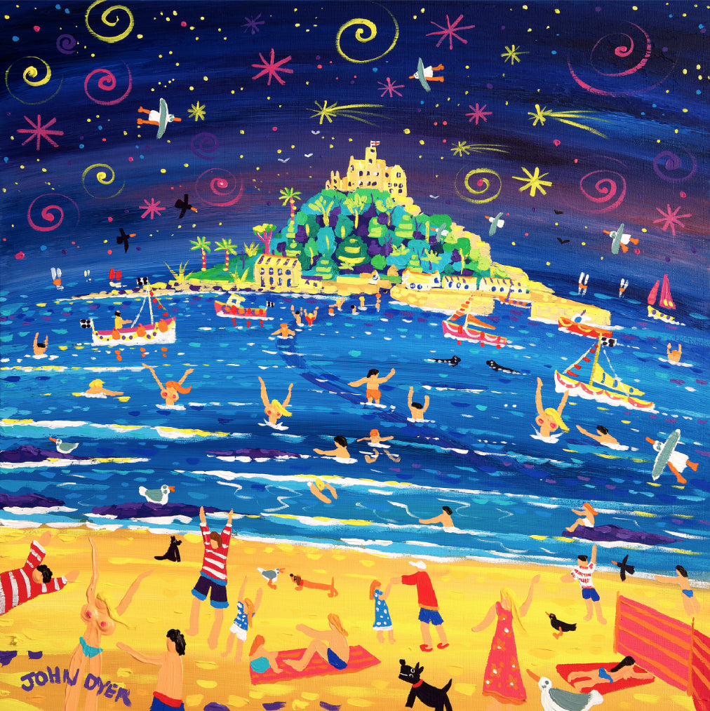 Limited Edition Print by John Dyer. Shooting Stars and Skinny Dippers, St Michael's Mount.