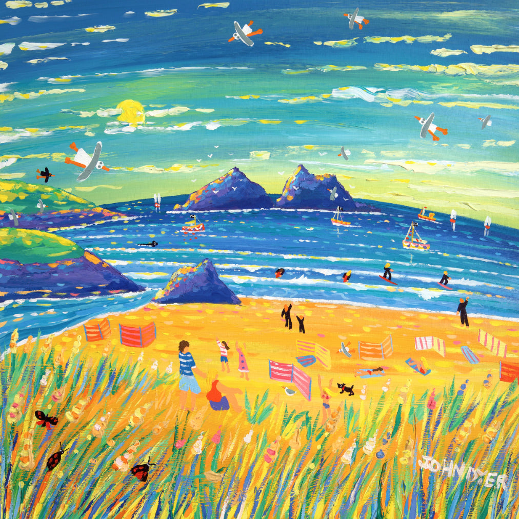 Sunset at Holywell Bay in Cornwall - art print by Cornish artist John Dyer.