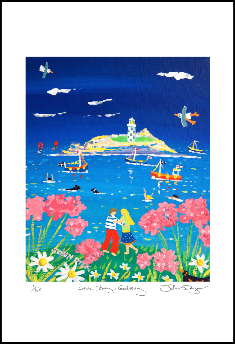 John Dyer Limited Edition Print. Love Story, Godrevy Lighthouse