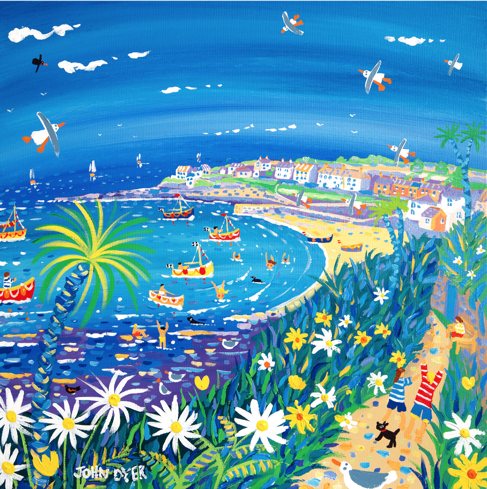 Limited Edition Print by John Dyer. Running to the Beach, Portscatho