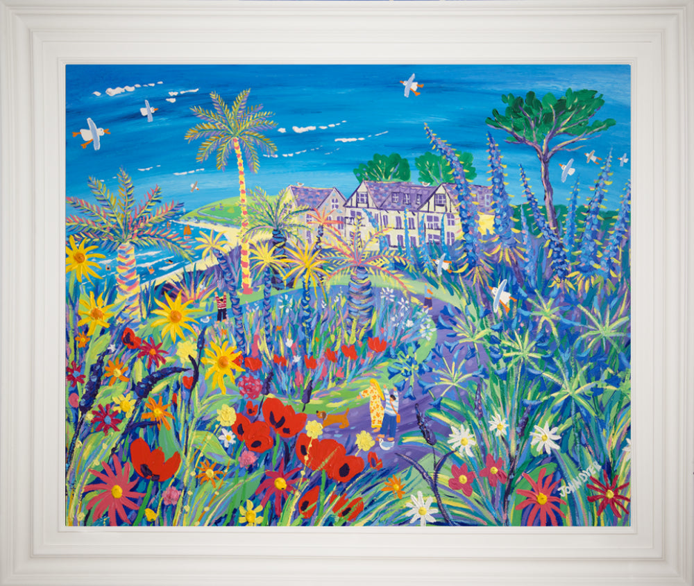 John Dyer Painting. A Wave of Summer Colour, Gyllyngvase Beach, Falmouth