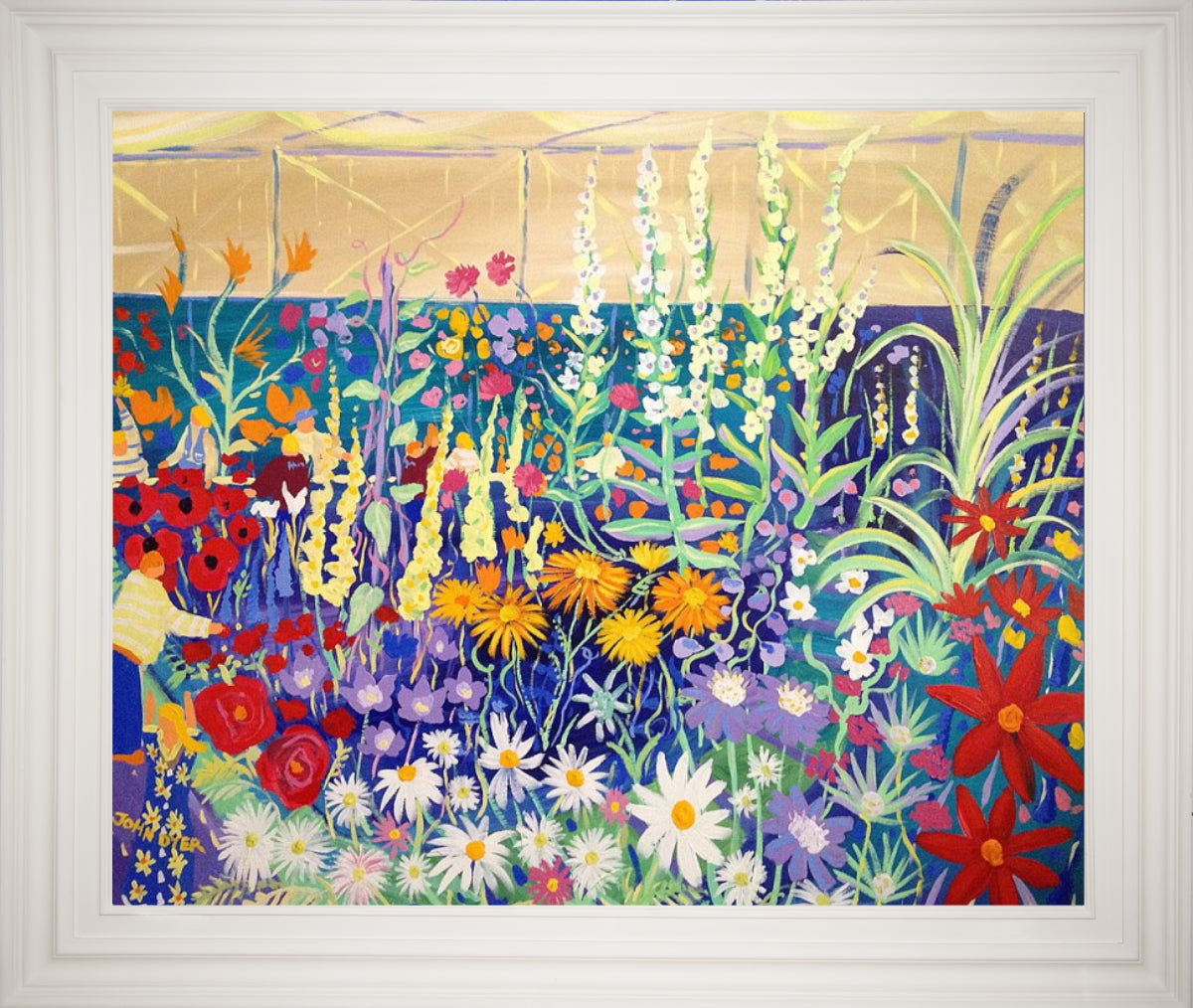 Original Painting by John Dyer. Prize Blooms. RHS Tent BBC Gardeners' World Live.
