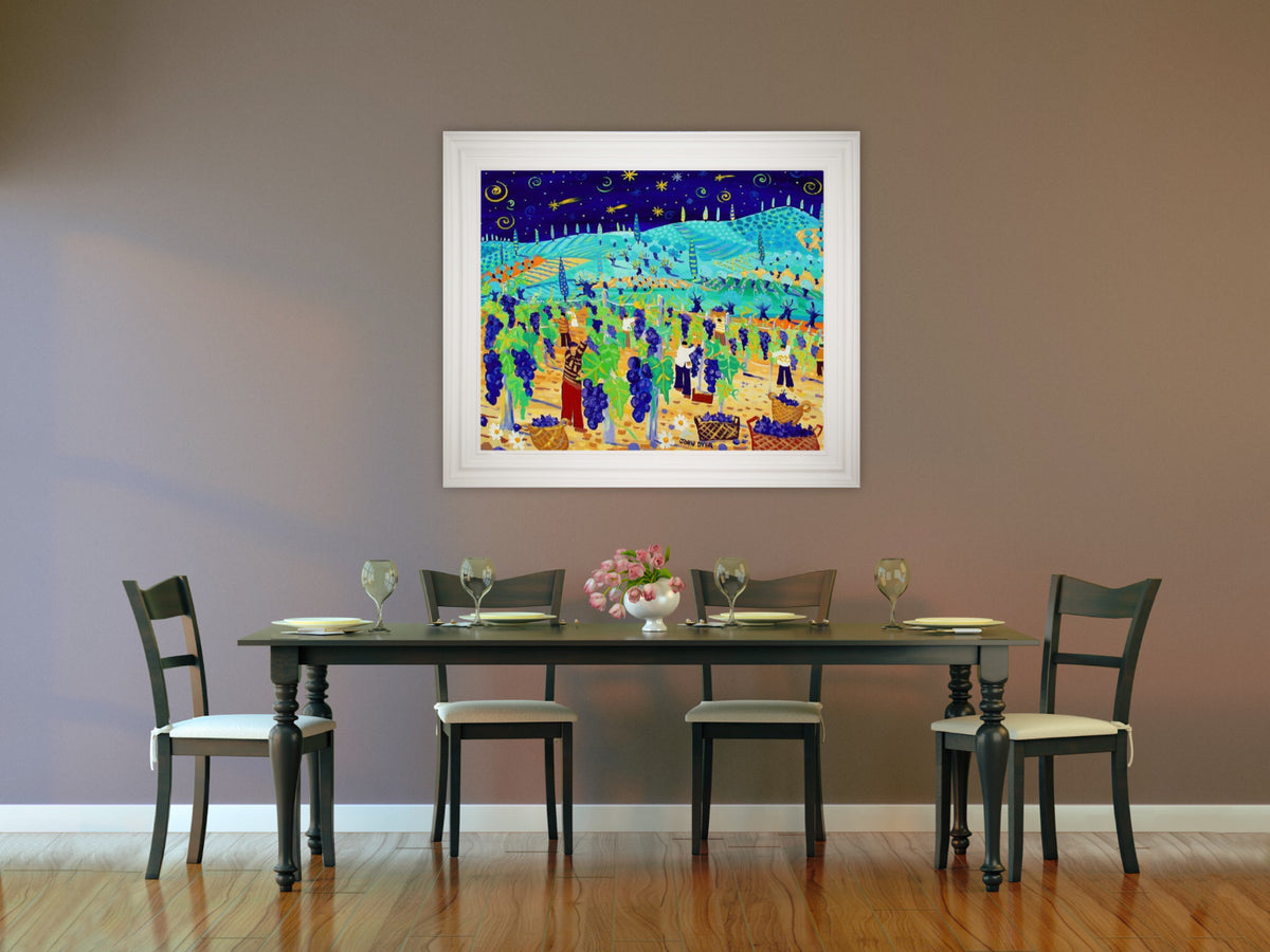 Original Painting by John Dyer. Juicy Grapes and Shooting Stars, Italy.