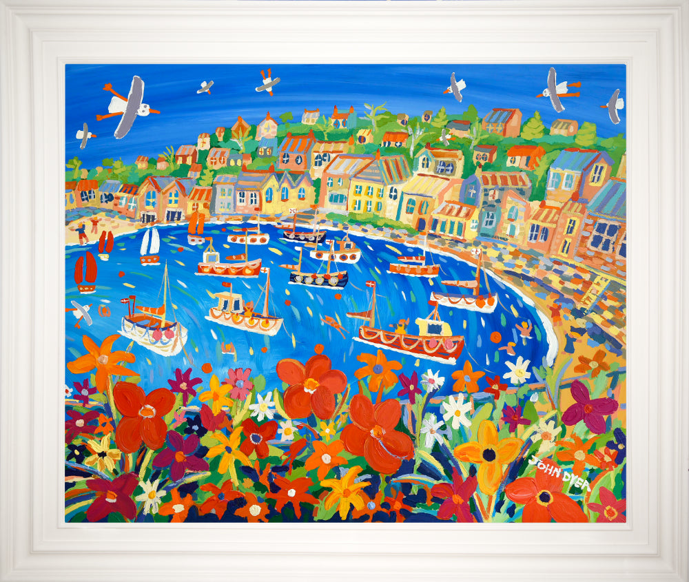 John Dyer Painting. Bright Summer Flowers, Mousehole