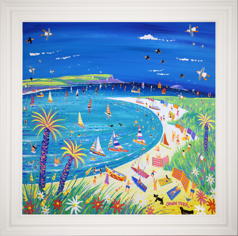Original Painting by John Dyer. Hot Summer Fun at Rock, Daymer Bay