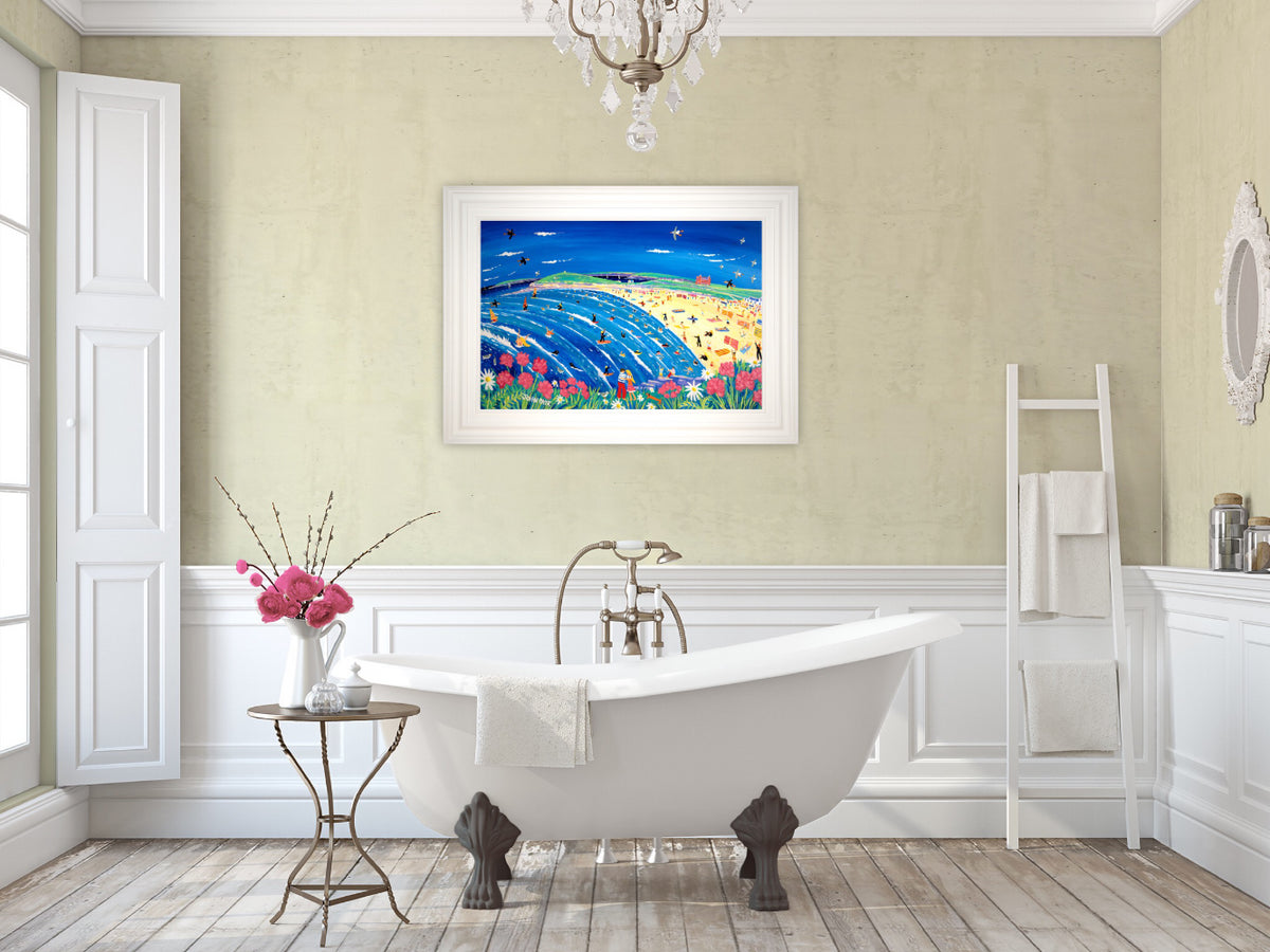 Painting by John Dyer. Cornish Holiday, Fistral Beach, Newquay
