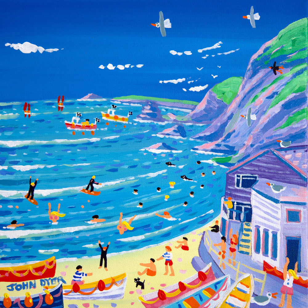 John Dyer Painting. High Tide,Trevaunance Cove