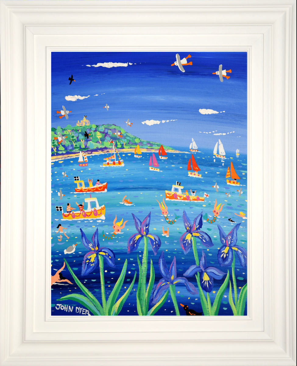 John Dyer Painting. Blue Irises and Mermaids, Castle Beach, Falmouth