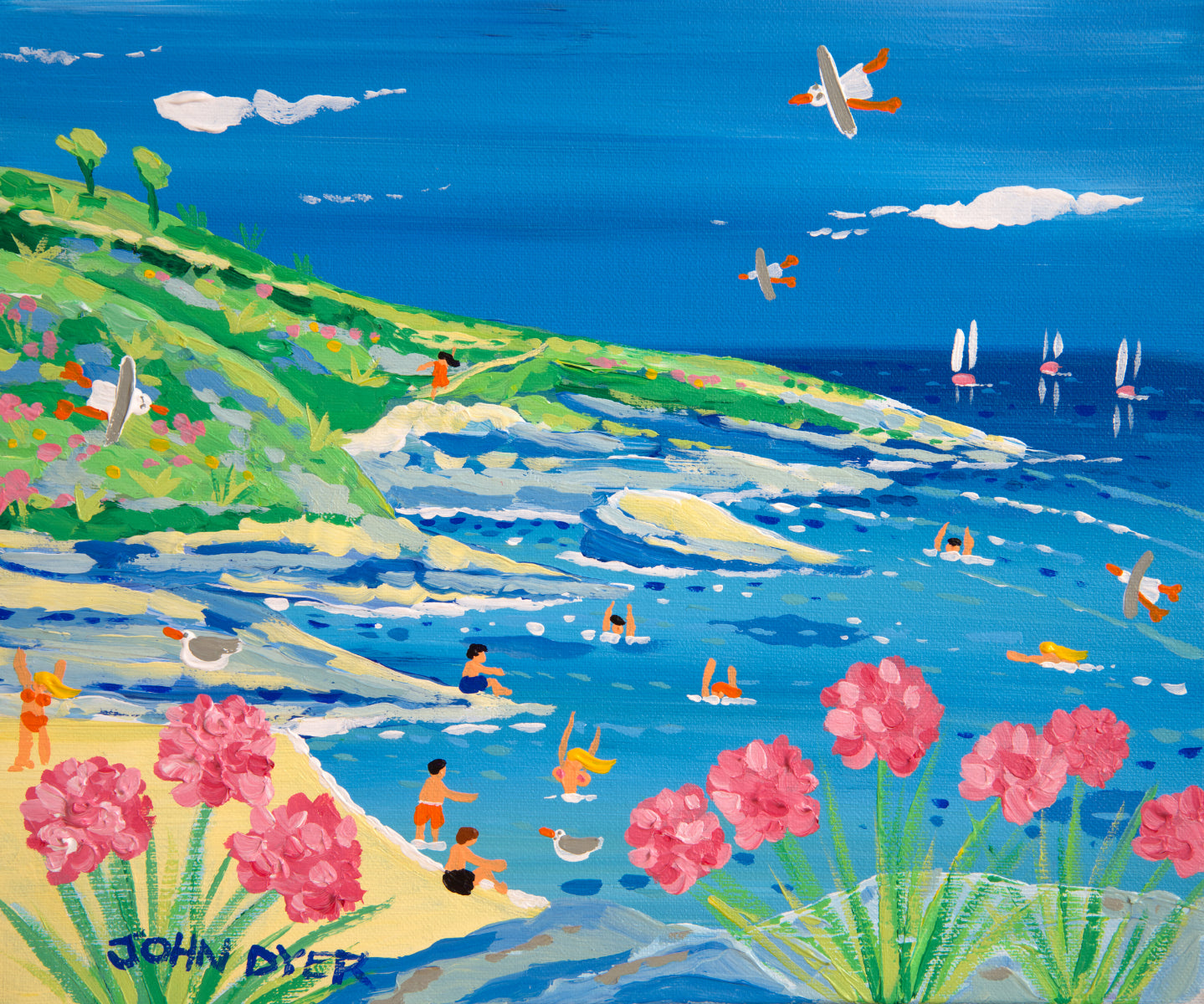 John Dyer Painting. Splashing about in Prussia Cove