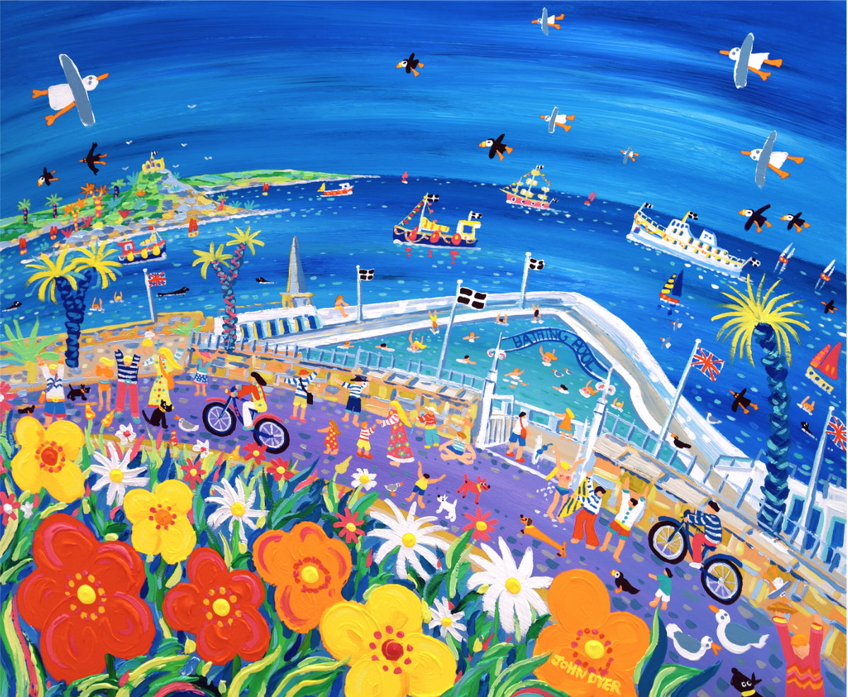 Signed Limited Edition Print by John Dyer. A Day at the Bathing Pool, Penzance