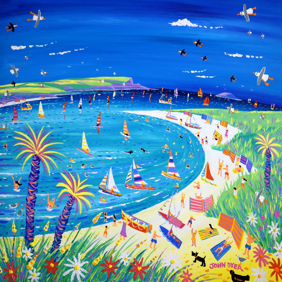 Art print by famous Cornish artist John Dyer of Rock and Daymer Bay. Signed.