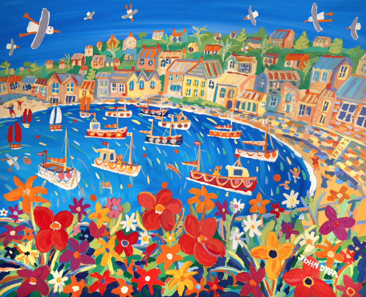 Signed Limited Edition Print by John Dyer. Bright Summer Flowers, Mousehole