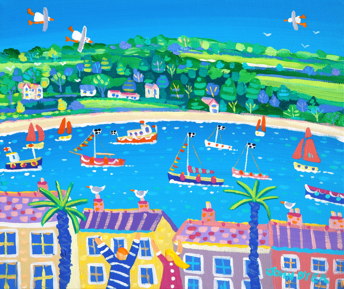 John Dyer Painting. Boats on the River, Falmouth.