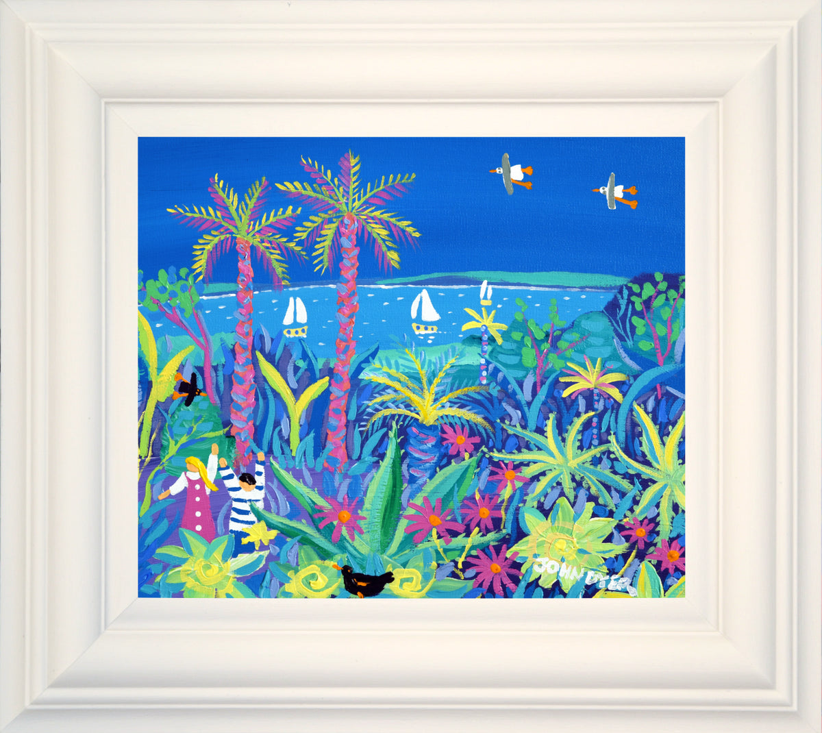 John Dyer Painting. Tropical Seaside Day, Tresco Abbey Garden