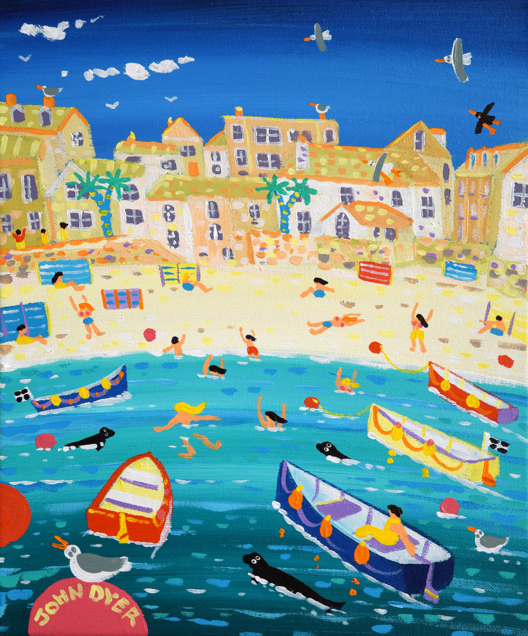 John Dyer Painting. Swimming with Seals, St Ives