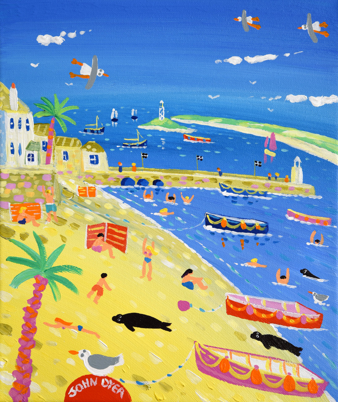 Sea, sun and sand, all captured in this delightful John Dyer painting of St Ives in Cornwall. The artist has combined the view of the harbour with the distant view of Godrevy Lighthouse and Gwithian Sands. Boats are pulled up onto the yellow sand and sleepy seals bask in the warm summer sunshine. Beautiful.