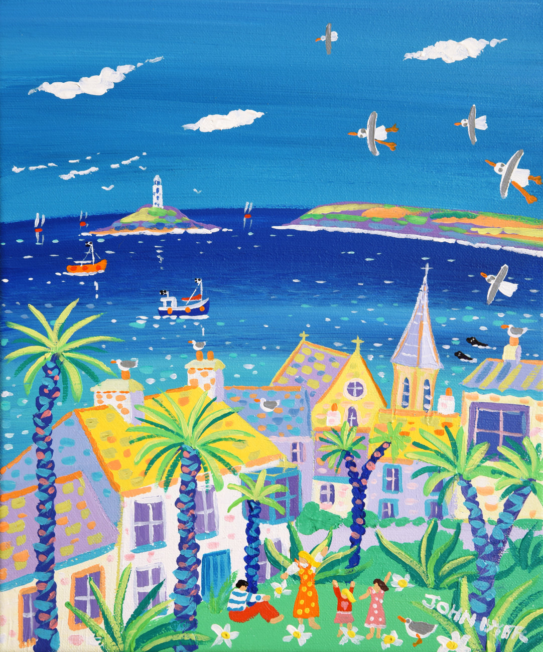 John Dyer Painting. View to the Lighthouse, St Ives