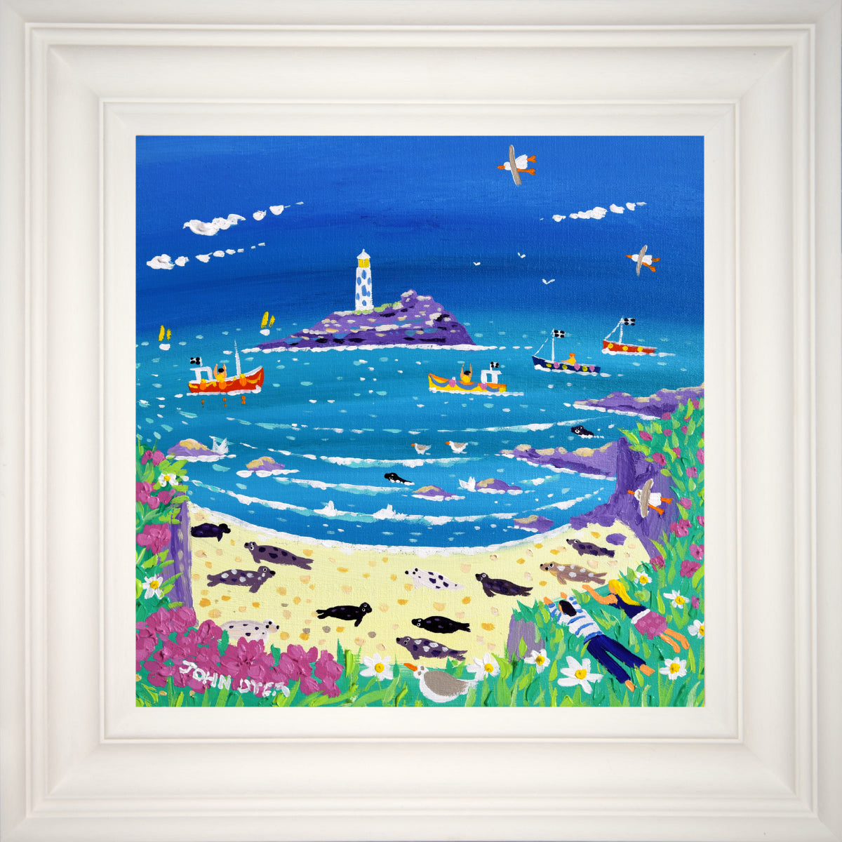 John Dyer Painting. Sneaky Peek at the Seals, Godrevy