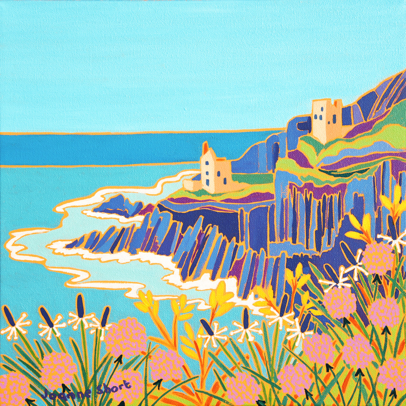 Joanne Short Painting. Rugged Cornwall, Botallack