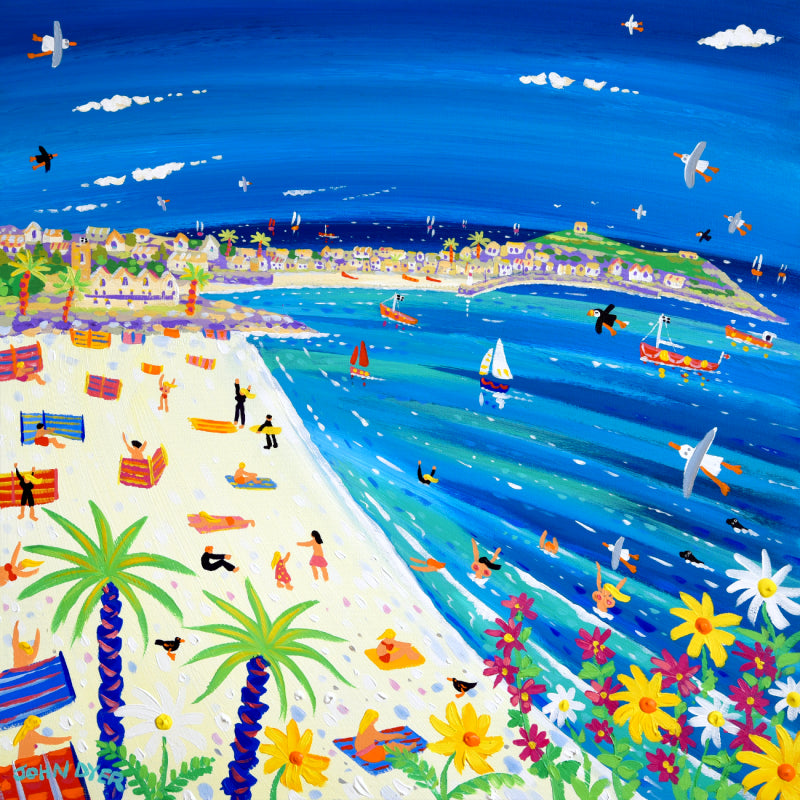 John Dyer Painting. Summer Fun on Porthminster Beach, St Ives