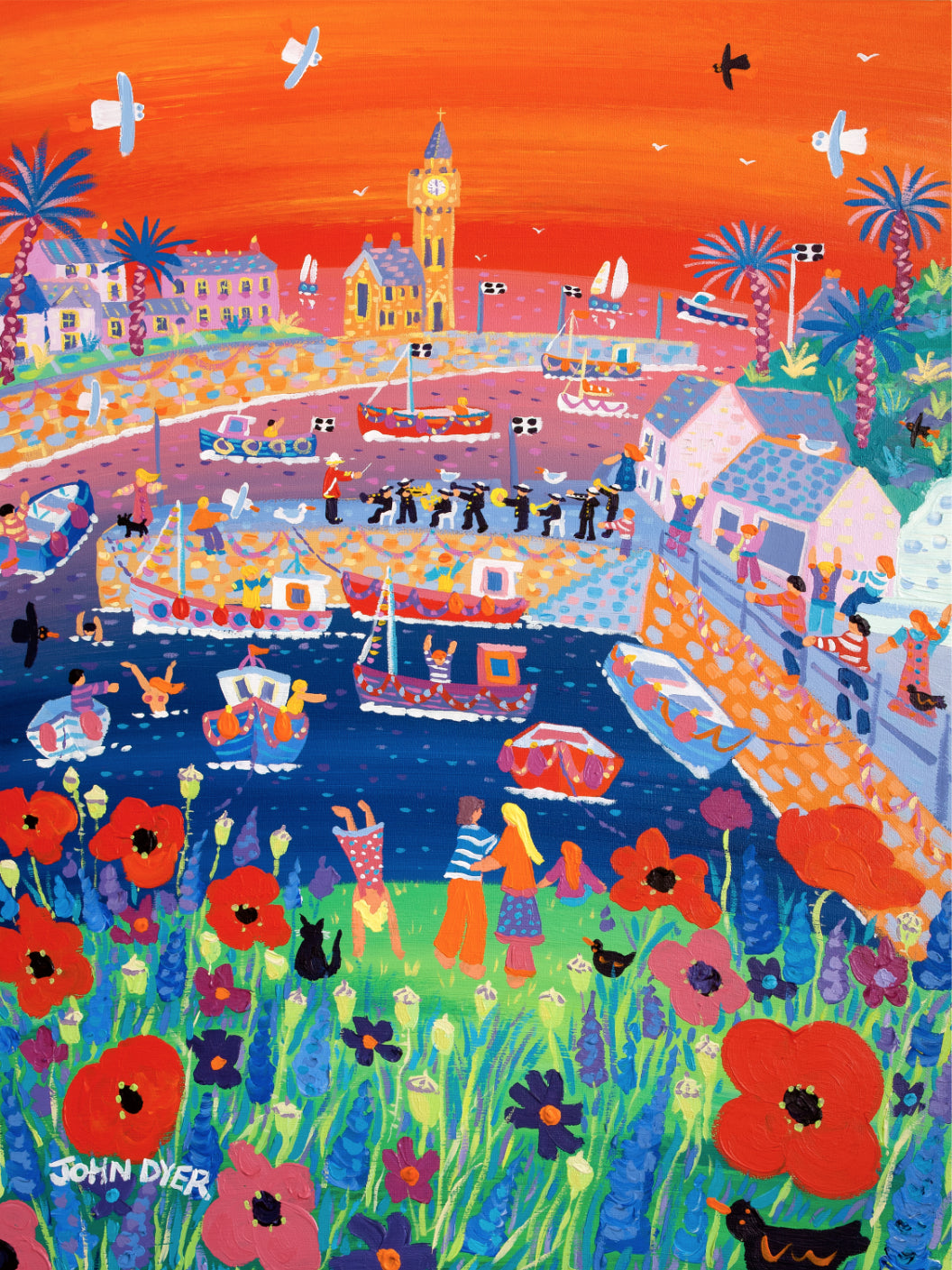 Signed Limited Edition Print by John Dyer. Poppies and Players, Porthleven.