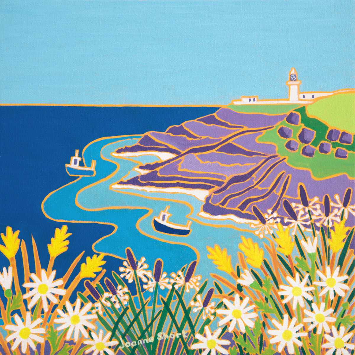 Joanne Short Painting. View to the Lighthouse, Pendeen