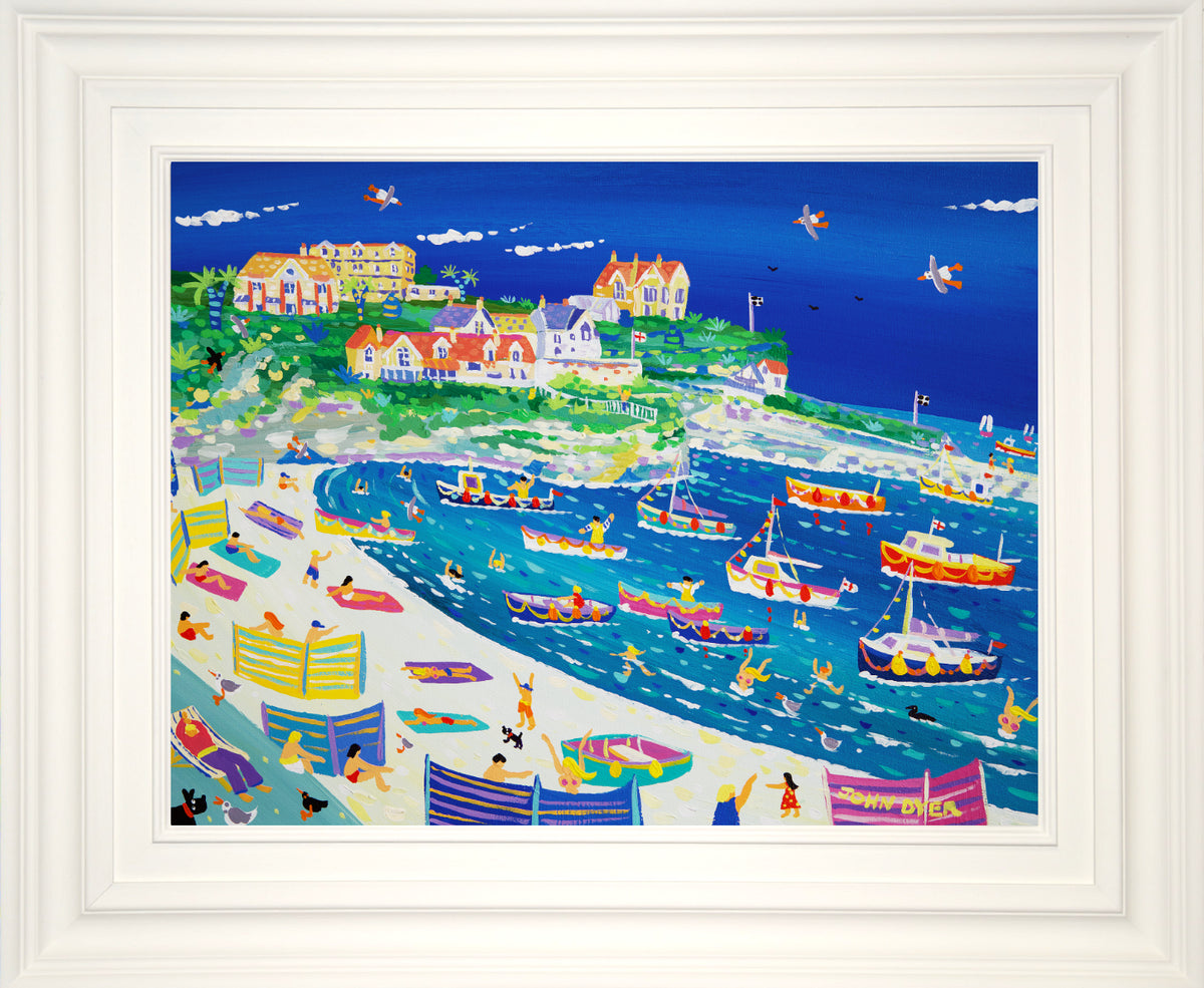 John Dyer Painting. Fun in the Harbour, Newquay