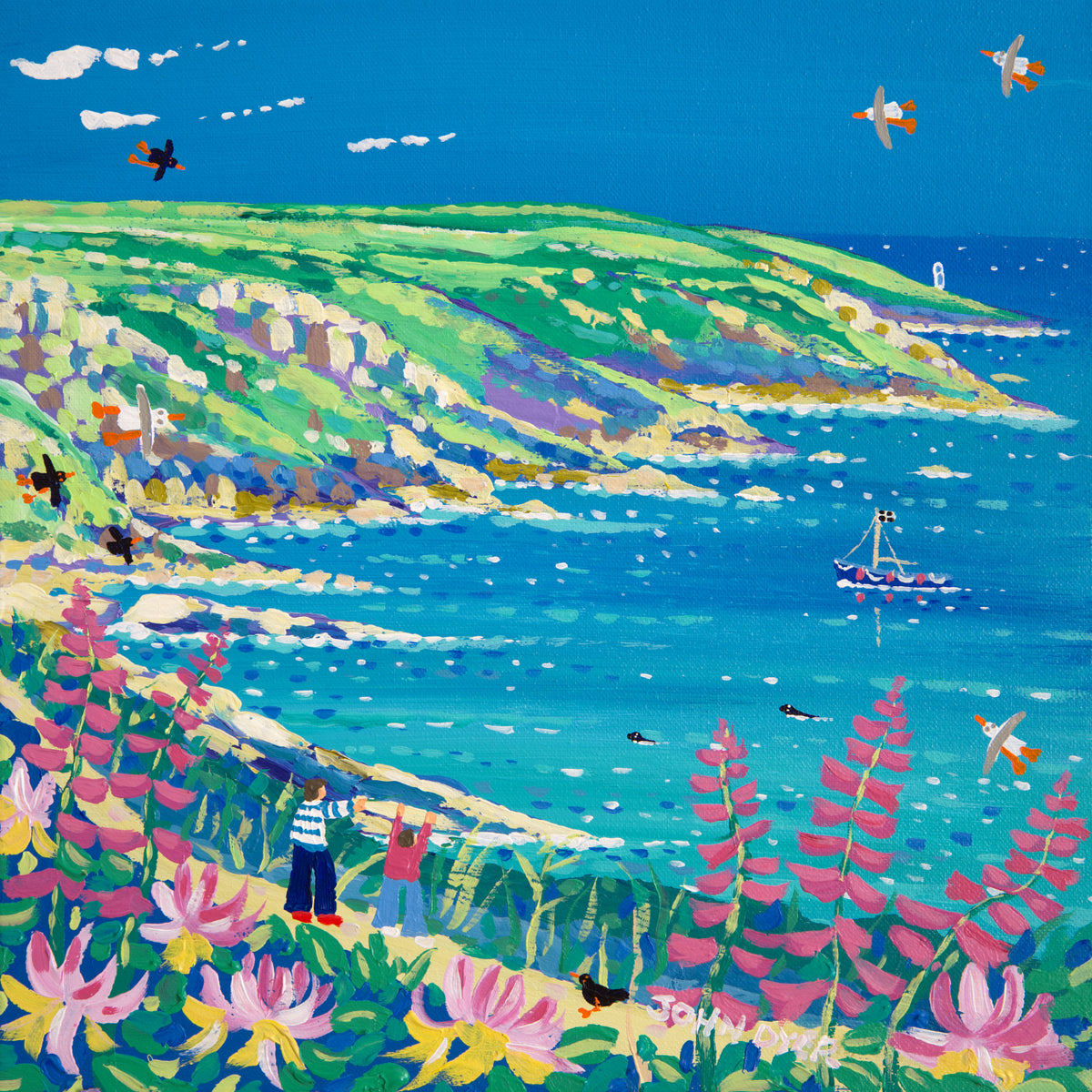John Dyer Painting. Looking through the Honeysuckle and Foxgloves to Pendeen Lighthouse, Morvah