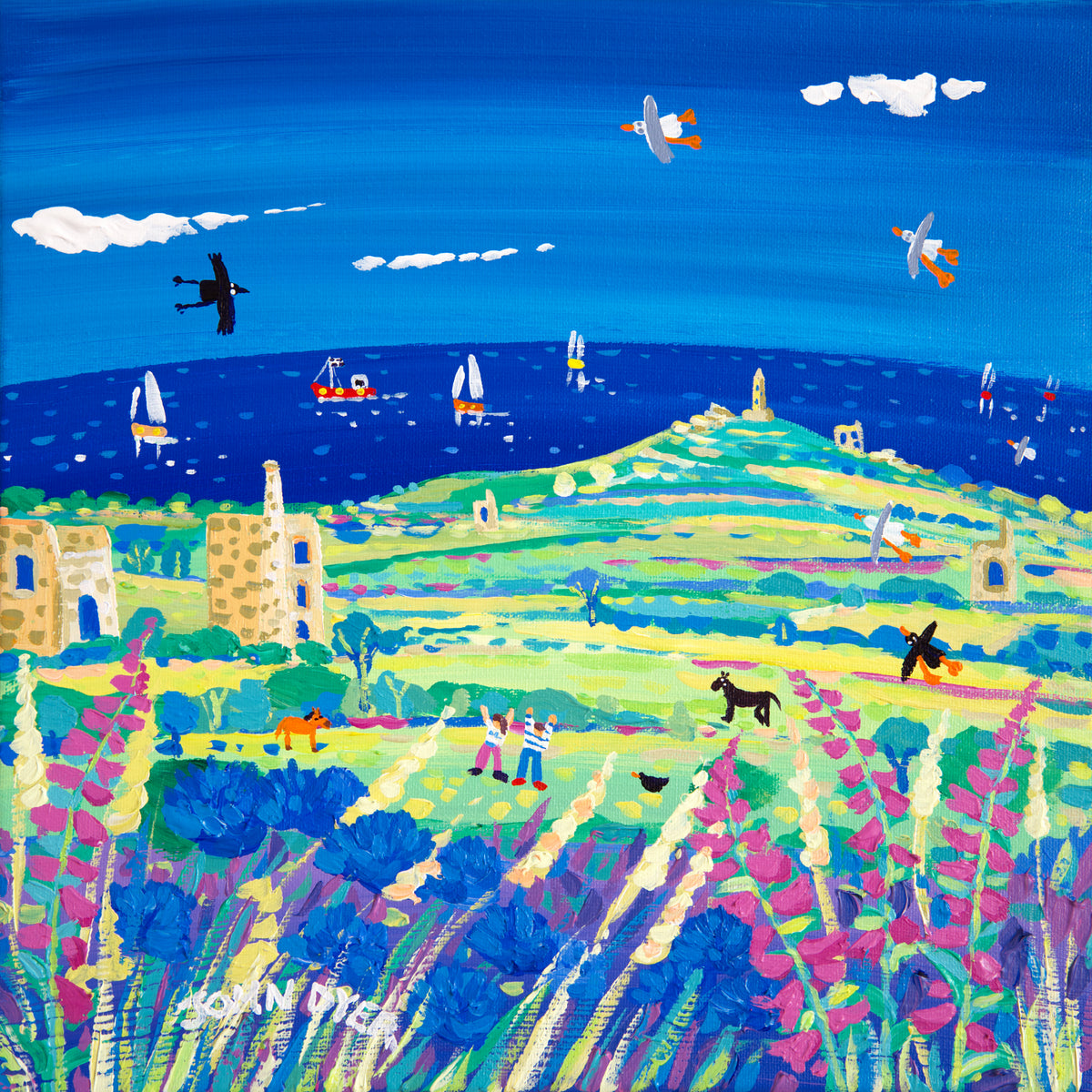 John Dyer Painting. Walking to Carn Brea, Cornwall.