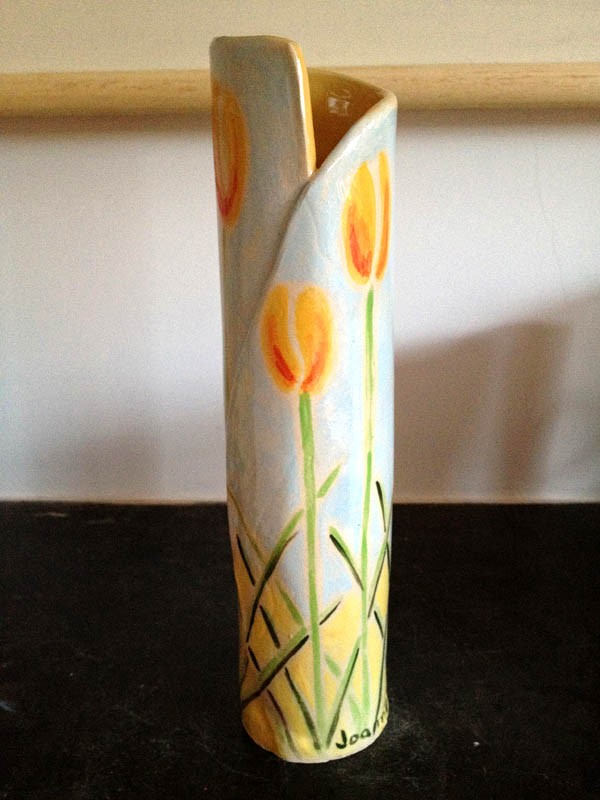 Cornish Ceramic Vase with Yellow Tulips by artist Joanne Short