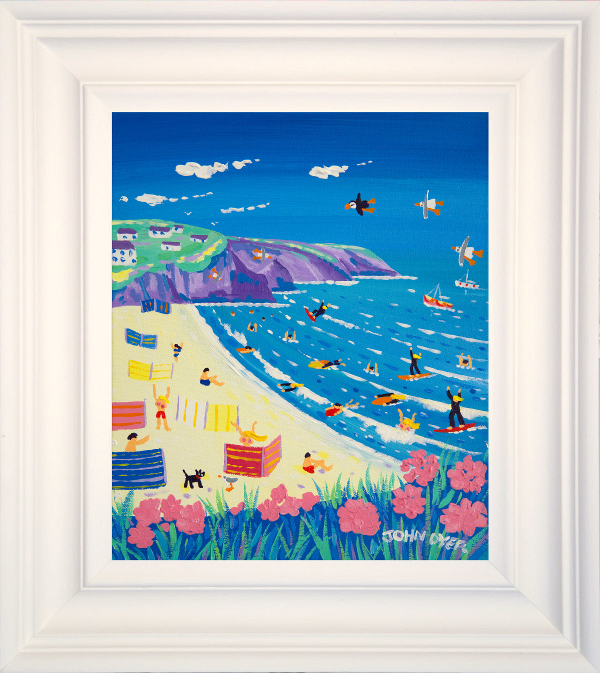 John Dyer Painting. A Day at the Beach, Porthtowan