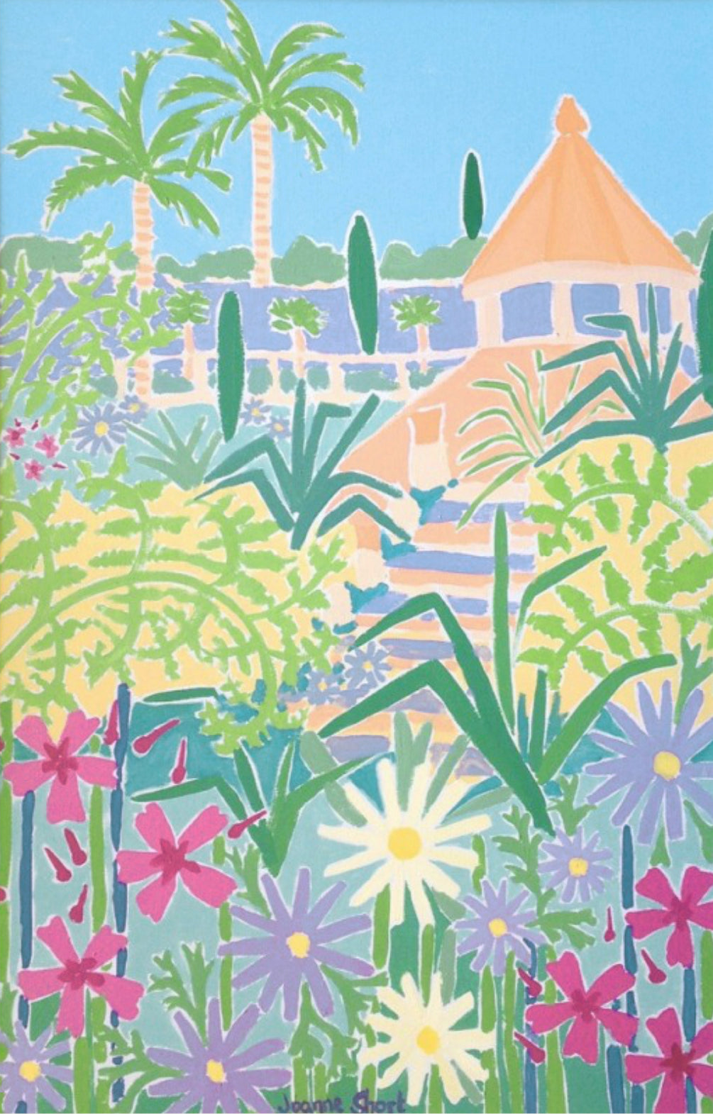 Original Painting by Joanne Short. Mediterranean Flowers, Tresco Abbey Gardens, Isles of Scilly, Cornwall.