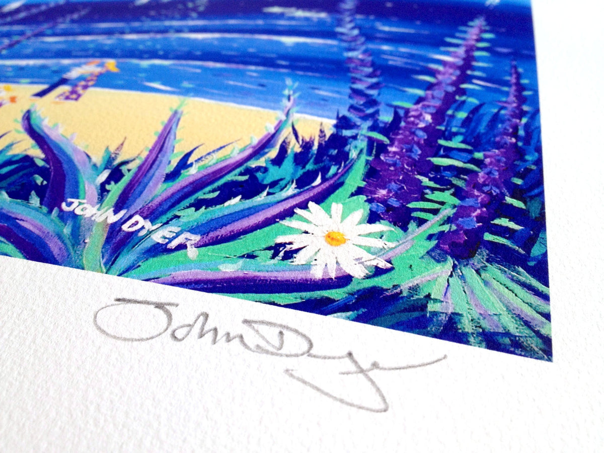 John Dyer Signed Print. Moonlit Lovers. Cornwall.