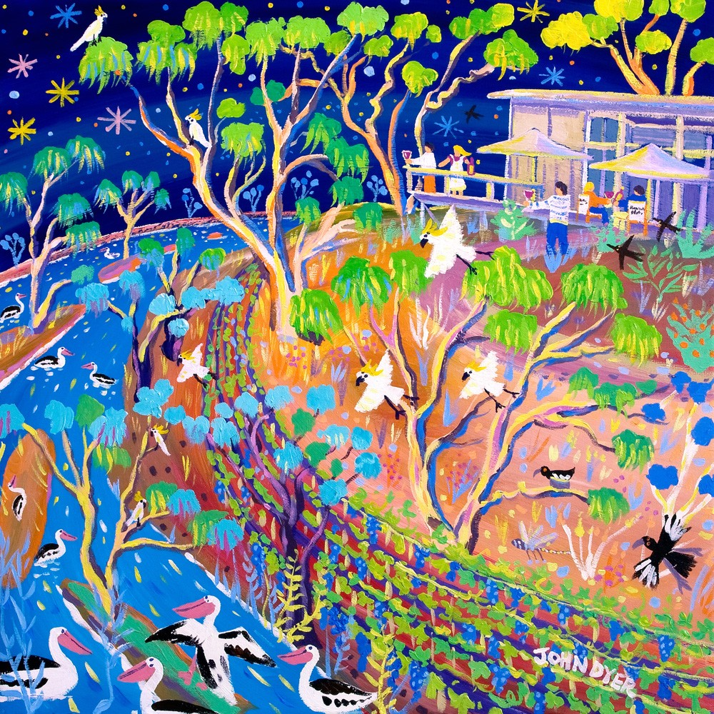 Original Painting by John Dyer. Blue Skies and Blazing Stars, Banrock Station, Australia.
