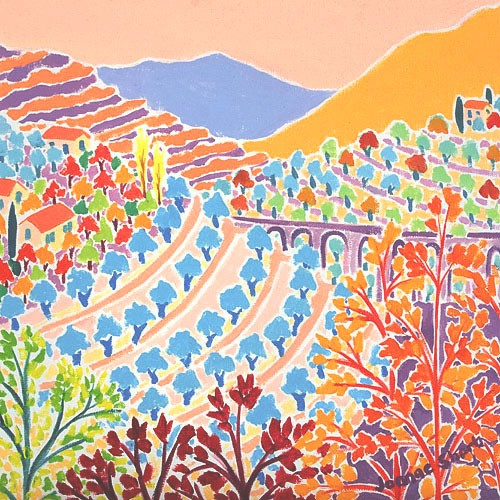 The Warmth of Autumn in the Menton Hills, France. Original Painting by Joanne Short