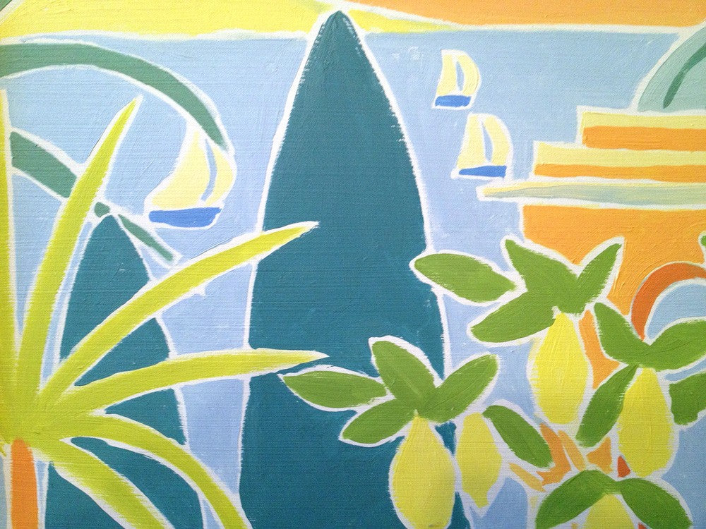 Original Painting by Joanne Short. Sailing through the Lemons, Giardini Hanbury, La Mortola, Italy.