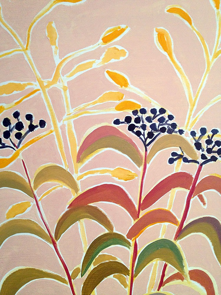 Provençal Flowers. Berries with Fish Vase. Provence, France. Original Painting by Joanne Short