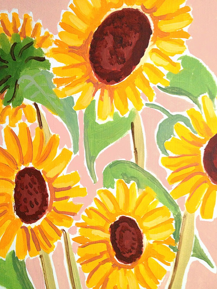 Original Still Life Painting by Joanne Short. Yellow Sunflowers and Blue Tablecloth. Provence, France.