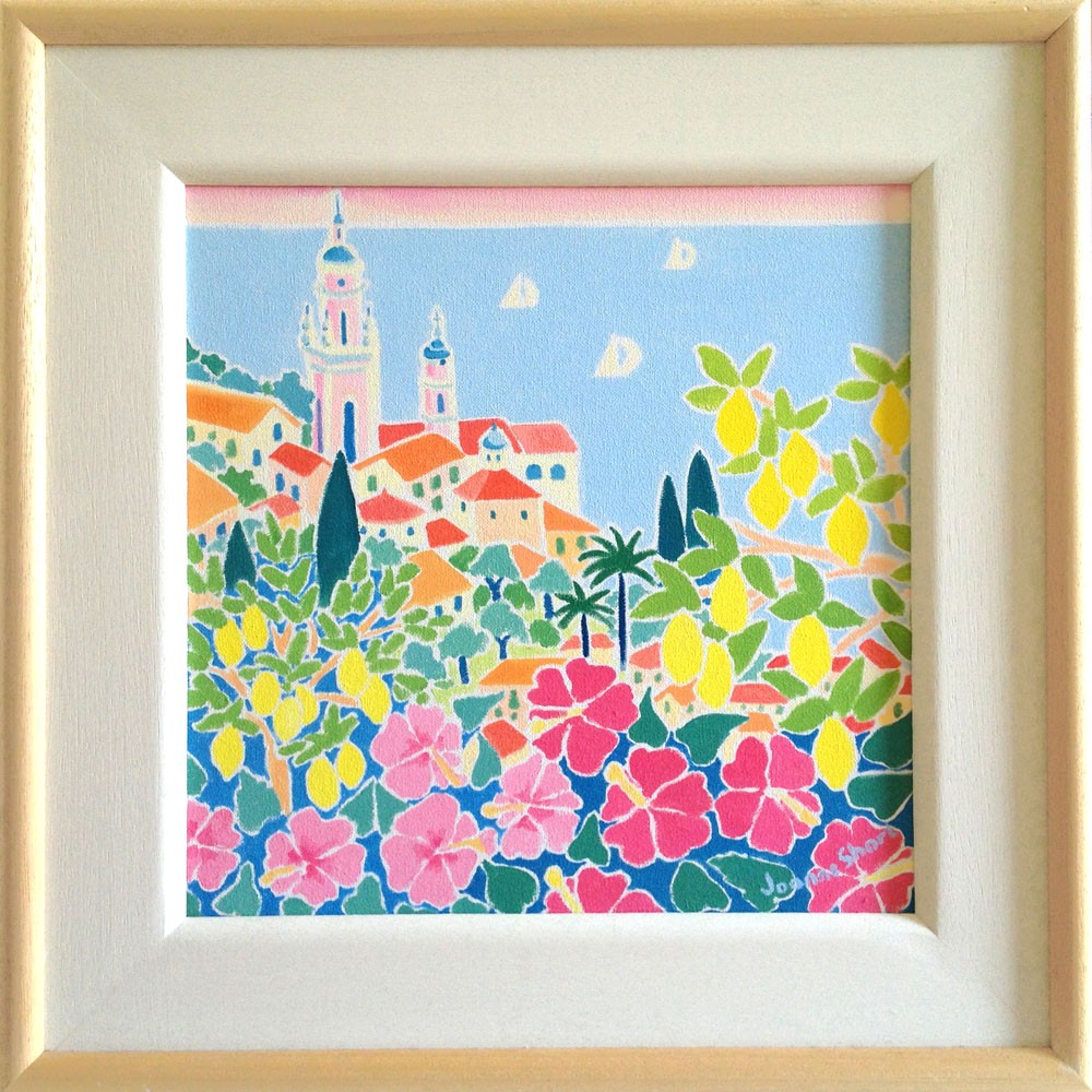 Original Painting by Joanne Short. Blushing Pink Sky over Menton. France.