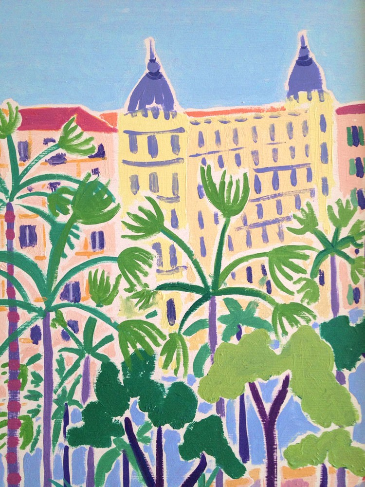 Original Painting by Joanne Short. Palms and Umbrellas, Cannes. France.