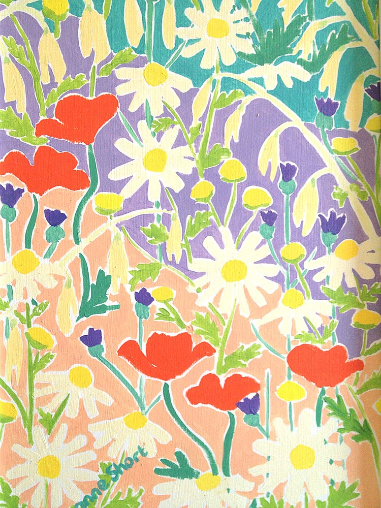 Original Painting by Joanne Short. Fields of Wild Flowers, Italy.