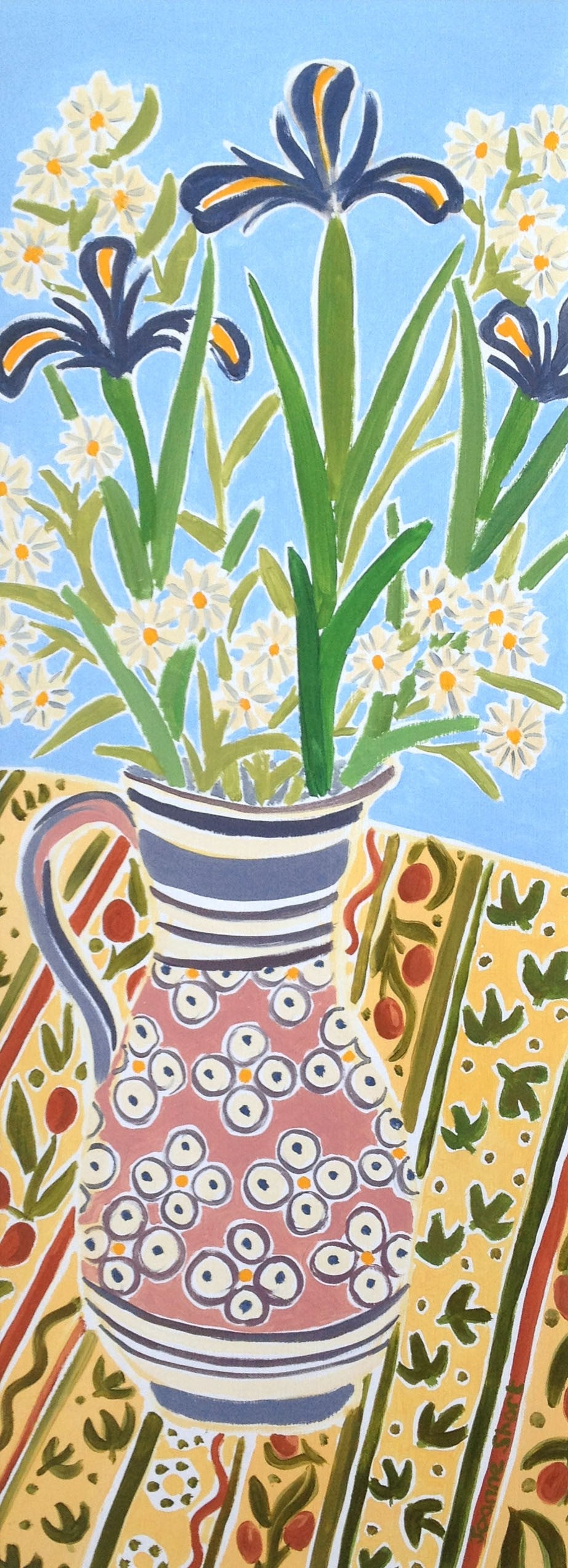 Original Still Life Painting by Joanne Short. Blue Iris in a Pink Jug. Provence, France.